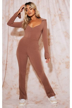 PRETTYLITTLETHING Recycled Petite Chocolate Contour Jersey Ruched Front Jumpsuit