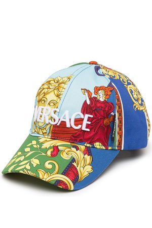 VERSACE Men Caps - Flocked-logo panelled baseball cap - Multicolour