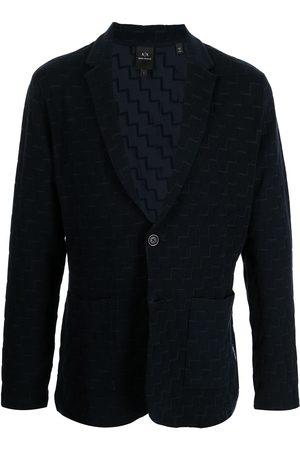 Armani Men Blazers - Geometric-pattern single-breasted blazer