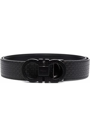 Salvatore Ferragamo Men Belts - Double gancini textured leather belt