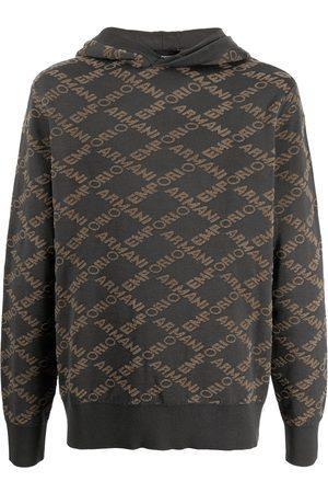 Emporio Armani Logo-print wool-blend hoodie - Grey