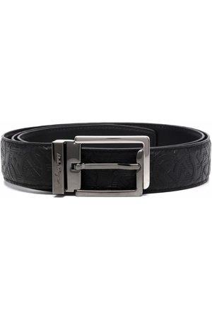 Salvatore Ferragamo Men Belts - Debossed leather buckle belt