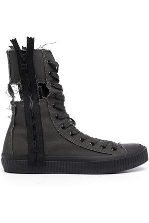 YOHJI YAMAMOTO Men Lace-up Boots - Distressed-effect lace-up boots