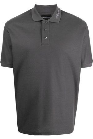Emporio Armani Men Polo Shirts - Logo embroidered polo shirt - Grey
