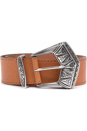 Etro Men Belts - Engraved-buckle leather belt