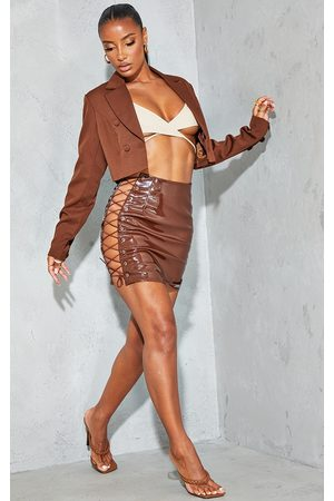 PRETTYLITTLETHING Women Party Dresses - Chocolate Vinyl Lace Up Side Mini Skirt