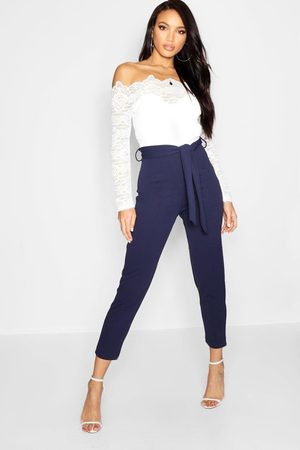 Boohoo Womens Off The Shoulder Lace 2 In 1 Jumpsuit - - 4
