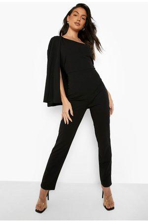 Boohoo Womens Asymetric Flare Sleeve Jumpsuit - - 4