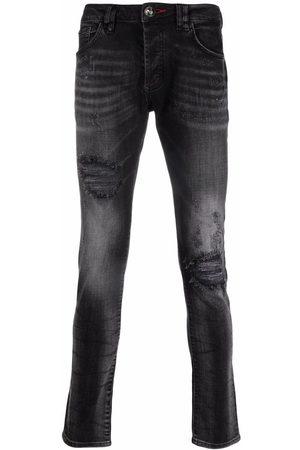 Philipp Plein Men Skinny - Iconic Plein distressed skinny jeans - Grey
