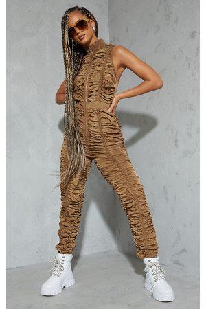 PRETTYLITTLETHING Women Sleeveless Dresses - Ruched Shell Sleeveless Zip Jumpsuit