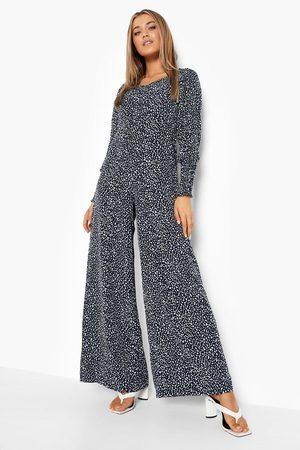 Boohoo Womens Animal Print Shirred Cuff Wide Leg Jumpsuit - - 4