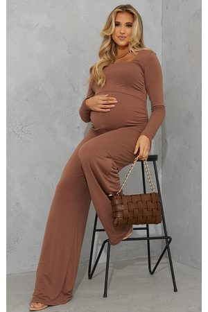 PRETTYLITTLETHING Women Casual Dresses - Recycled Maternity Chocolate Contour Jersey Square Neck Jumpsuit