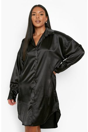 Boohoo Womens Plus Satin Leopard Oversized Shirt Dress - - 12