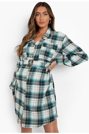 Boohoo Women Casual Dresses - Womens Maternity Flannel Belted Shirt Dress - - 4