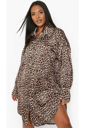 Boohoo Women Casual Dresses - Womens Plus Leopard Satin Oversized Shirt Dress - - 12