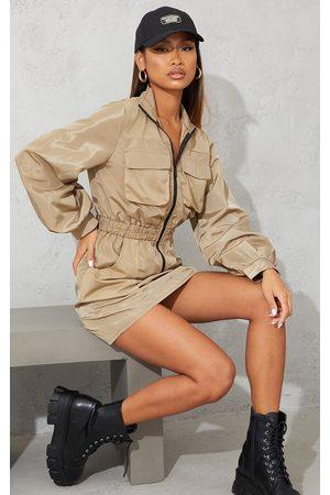 PRETTYLITTLETHING Women Bodycon Dresses - Stone Contrast Mesh Detail Zip Through Shell Bodycon Dress