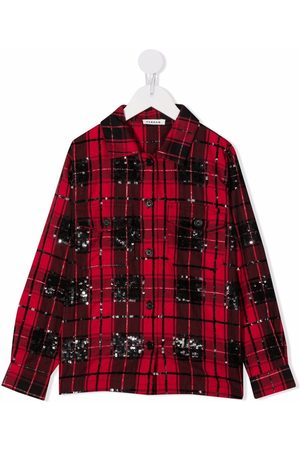 P.a.r.o.s.h. Girls Shirts - Checked sequin-embellished shirt