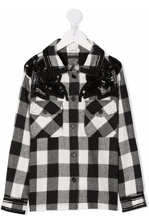 P.a.r.o.s.h. Girls Shirts - Sequined checked shirt
