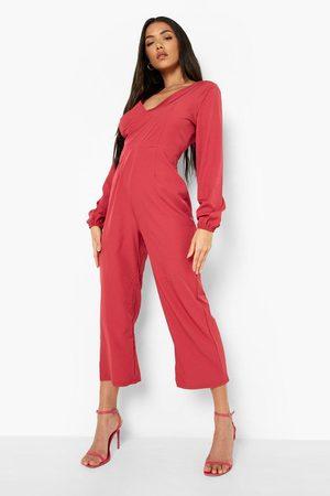 Boohoo Womens Open Tie Back Cullotte Jumpsuit - - 4