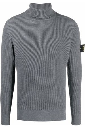Stone Island Logo-patch roll-neck jumper - Grey