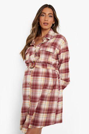Boohoo Womens Maternity Flannel Belted Shirt Dress - - 4