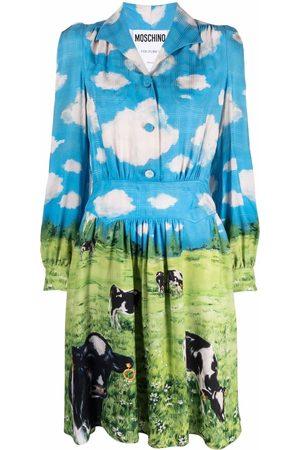 Moschino Women Casual Dresses - Cow-print shirt dress