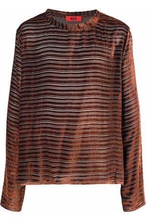 424 FAIRFAX Men T-shirts - Stripe-print velvet-effect T-Shirt