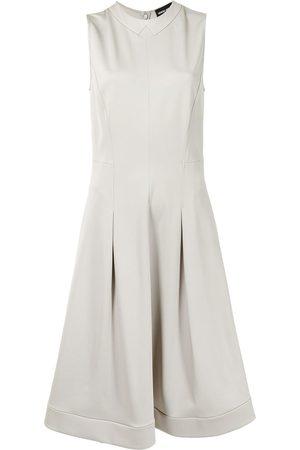 Armani Sleeveless flared-skirt midi dress - Neutrals