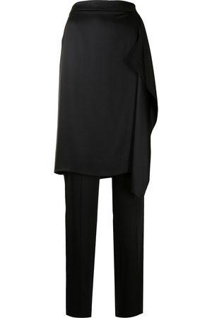 Armani Women Pants - High-waisted skirt-overlay silk trousers