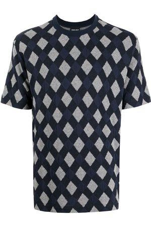Armani Men T-shirts - Diamond-jacquard knitted T-shirt