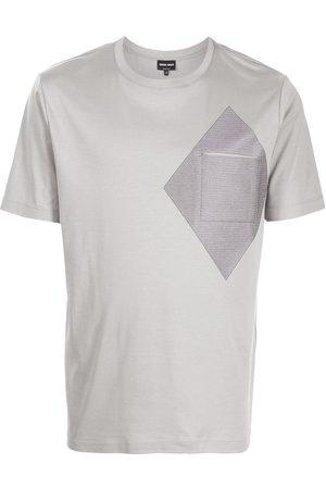 Armani Colour-block print cotton T-shirt - Grey
