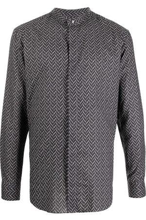 Armani Men Long sleeves - Geometric-print long-sleeve shirt - Grey