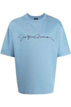 Armani Men T-shirts - Logo-print silk-blend T-shirt
