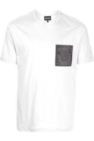 Armani Men T-shirts - Logo-patch cotton T-shirt - Grey