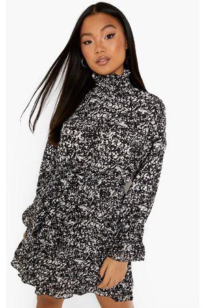 Boohoo Womens Petite High Neck Belted Ruffle Hem Dress - - 2