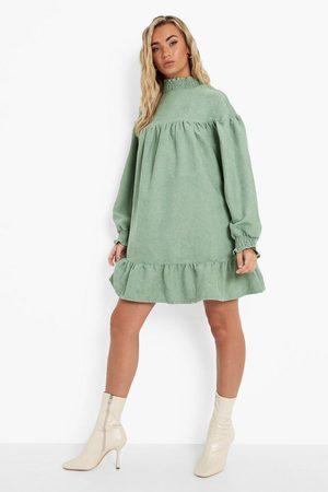 Boohoo Womens Cord High Neck Drop Hem Smock Dress - - 4