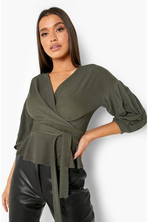 Boohoo Womens Bell Sleeve Wrap Top - - 2