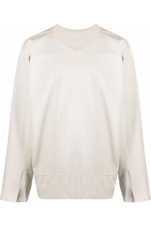 Rick Owens Men Long Sleeve - Slit-detail long-sleeved T-shirt - Neutrals