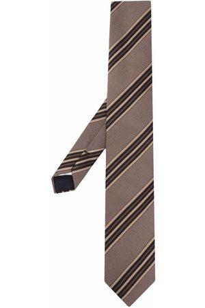 LARDINI Striped jacquard tie - Neutrals