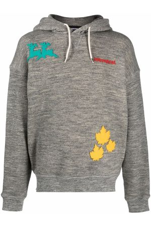 Dsquared2 Men Hoodies - Embroidered logo-patch relaxed hoodie - Grey
