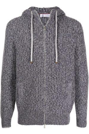 Brunello Cucinelli Men Hoodies - Zip-up cashmere-knit hoodie