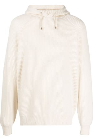 Brunello Cucinelli Men Hoodies - Ribbed cashmere-knit pullover hoodie - Neutrals