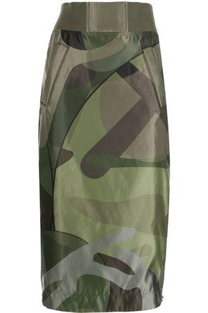 SACAI Women Printed Skirts - Camouflage-print midi skirt