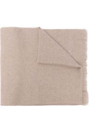 CANALI Men Scarves - Logo-embroidered wool scarf - Neutrals