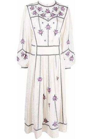 Isabel Marant Women Printed Dresses - Caroline floral-embroidered dress - Neutrals