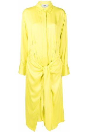 Msgm Women Casual Dresses - Gathered-detail midi shirtdress