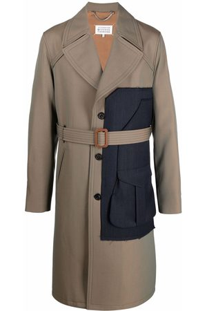 Maison Margiela Men Trench Coats - Single-breasted panelled trench coat - Neutrals