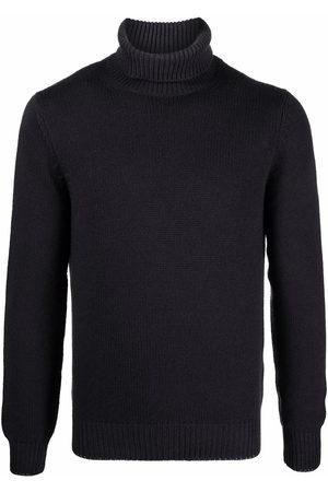 DELL'OGLIO Men Turtlenecks - Roll-neck rib-trimmed jumper - Grey