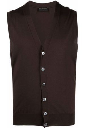 DELL'OGLIO Men Tank Tops - V-neck merino wool vest