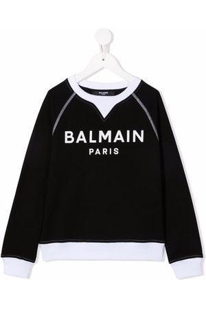 Balmain Boys Hoodies - Logo-print long-sleeved jumper